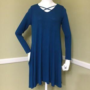 Pomelo Long Sleeve Teal Dress with Pockets, sz S
